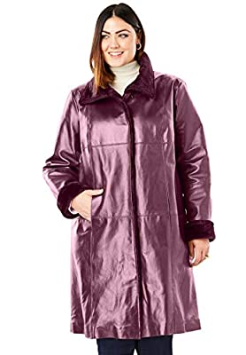 Jessica London Women's Plus Size Fur-Trim Leather Swing Coat - 20 W, Deep Merlot from Jessica London