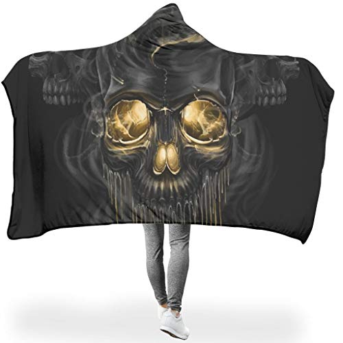 NiTIAN Skull Black SerieHome Tapijt, hooded blanket, hypoallergeen warme slaapdeken, winter tv, computer werpen deken voor volwassenen of kinderen