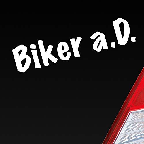 Auto Aufkleber in deiner Wunschfarbe Biker a.D. außer Dienst Motorrad Bike Fun Dub OEM 19x4,2 cm Autoaufkleber Sticker