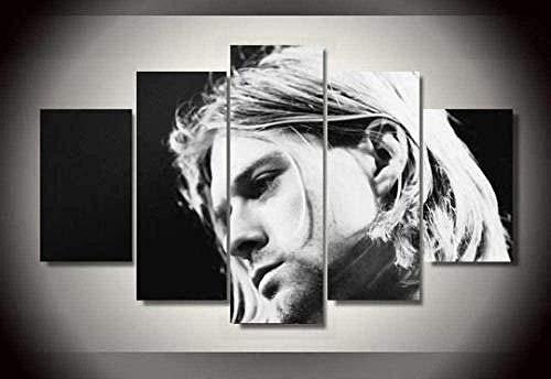 bnkrtopsu 5 Cuadro en Lienzo 5 Fotos Juntas en una Sala de Estar Dormitorio Creativo murales Decorativos y Carteles((Cuadro/100x55cm) Kurt Cobain