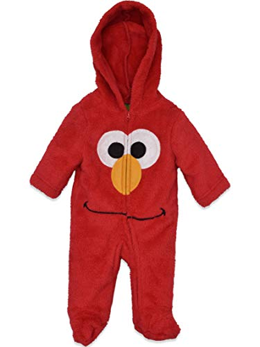 Sesame Street Elmo Newborn Baby Boys' Zip-Up Hooded Costume Coverall with Footies, 3-6M