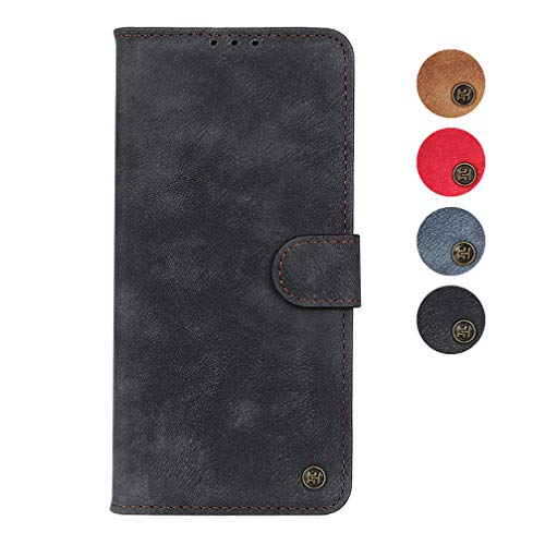 BRAND SET Hülle für Oppo Find X2 Pro Leather Hülle Wallet Premium Vintage Leather Protective Hülle with Stand Function and Business Card Slot Schutzhülle for Oppo Find X2 Pro Phone Hülle(Schwarz)