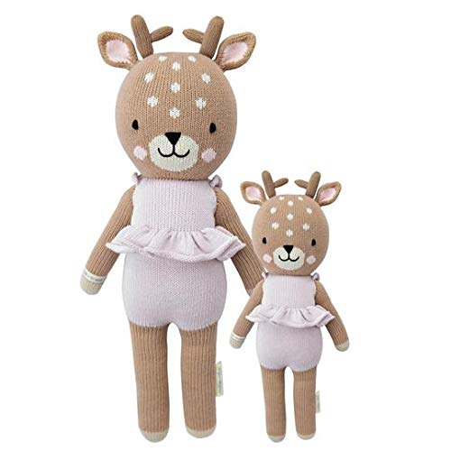 """CUDDLE + KIND Violet The Fawn Little 13"""" Hand-Knit Doll – 1 Doll = 10 Meals, Fair Trade, Heirloom Quality, Handcrafted in Peru, 100% Cotton Yarn"""