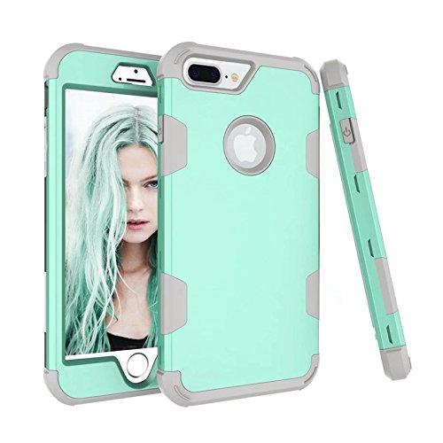 YHUISEN Funda iPhone 7 Plus, funda protectora híbrida reforzada de tres capas resistente a las colisiones [Heavy Duty] de Shock-Absorption para iPhone 7 Plus ( Color : Green Gray )