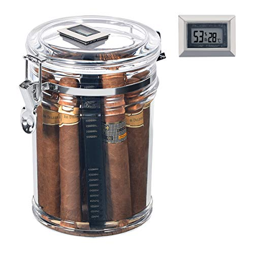 Volenx Acrylic Cigar Humidor Jar with Humidifier and Digital Hygrometer, Clear Cigar Storage Container Canister, Holds About 20 Cigars