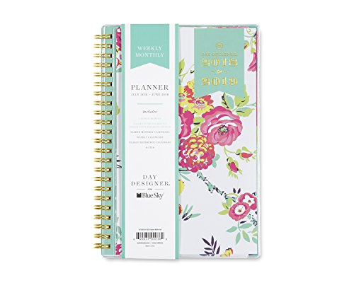 Day Designer for Blue Sky 2018-2019 Academic Year Weekly & Monthly Planner, Flexible Cover, Twin-Wire Binding, 5u0022 x 8u0022, Peyton White Design
