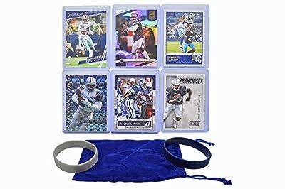 Dallas Cowboys Cards: Dak Prescott, Ezekiel Elliott, Amari Cooper, Emmitt Smith, Michael Gallup, Michael Irvin ASSORTED Football Stars & Legends Trading Card & Wristbands Bundle
