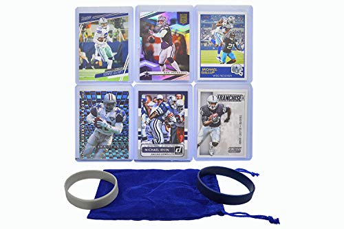 Dallas Cowboys Cards: Dak Prescott, Ezekiel Elliott, Amari Cooper, Emmitt Smith, Michael Gallup, Sean Lee, Troy Aikman, Irvin, Dalton ASSORTED Football Stars & Legends Trading Card & Wristbands Bundle
