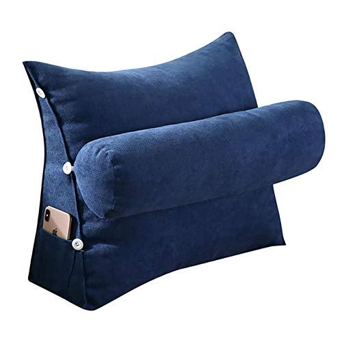 VERCART Kopfkissen Nackenstützkissen Stützkissen Dekokissen Lesekissen Rückenkissen Lesen Couch Sofa Nackenrolle tv Kissen 60cm Dunkelblau