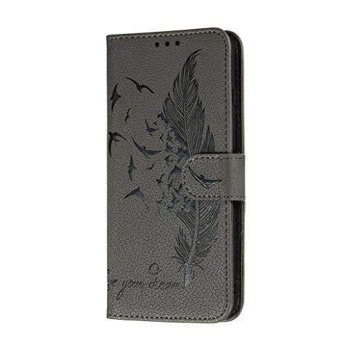 Jeelar Funda Xiaomi Redmi Note 9 Pro/9 Pro MAX, Carcasa con Tarjetero y Suporte, Diseño de Patrón Pluma en Relieve Bastante Retro Funda de Cuero Premium TPU/PU Cuero Flip Folio Cover.