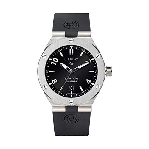 Reloj L.Bruat Hombre LB45 SCAPHANDRE 11318 Esfera Negra Correa Caucho