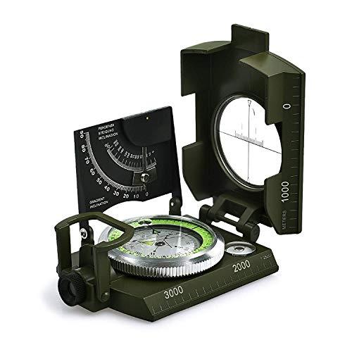 ZFH Brújula de Metal Multifuncional con Objetivo Medidor Inclinómetro Calculadora de Distancia Aleación de Aluminio Tamaño de Bolsillo Diseño Fluorescente