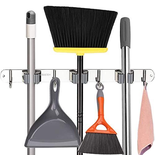 Broom Mop Holder, Stainless Steel Heavy Duty Wall Mount Storage Organizer Tools Hanger with 3 Racks 4 Hooks for Kitchen Bathroom Closet Garage Office Garden (3 Racks 4 Hooks)