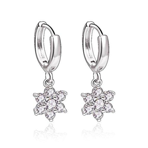 Pendientes de aro Rapidly de plata 925 para mujer, con circonitas, diseño de copo de nieve