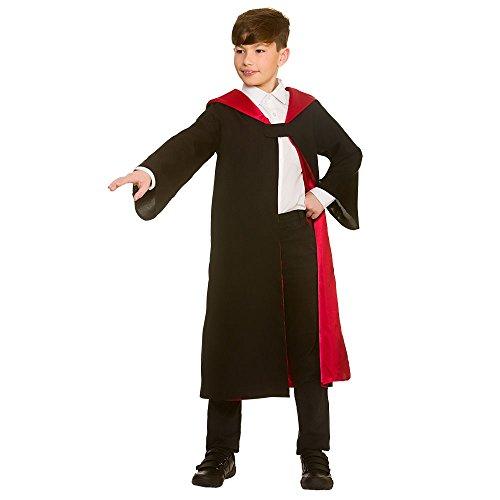 Kinder Unisex Schwarz / Rot Zauberer Robe (Einheitsgröße)