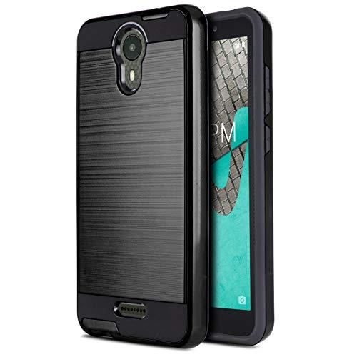CasemartUSA Phone Case for [Wiko Ride (Boost Mobile)], [Protech Series][Black] Shockproof Hybrid Slim Brushed Phone Cover for Wiko Ride (Boost Mobile)