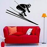 Ski Wall Decal Skier Speed Winter Extreme Sport Porta finestra Vinyl Sticker adolescenziale Camera da letto Decorazione soggiorno decorazione della casa-74x99 cm