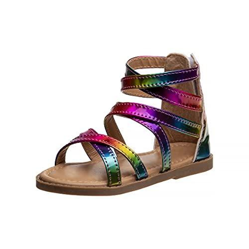 Petalia Toddler Girls' Sandals - Multi Strap Glitter Gladiator Sandals, Size 10 Toddler, Metallic Multi