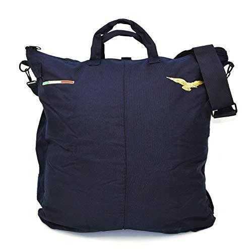 The Aerodyne Borsa Porta Casco da Volo Blu Ricamata con Aquila Pilota Civile e bandierina Italiana