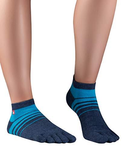 Knitido Track&Trail Spins Sneaker Socken Herren, Zehensocken für Sport und Zehenschuhe, Größe:39-42, Farbe:Navy/Cyan (903)