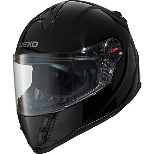 Nexo Integralhelm Motorradhelm Helm Motorrad Mopedhelm Junior III 2.0, Kinder-Motorradhelm für Jungen und Mädchen, Gewicht: 1.190 g klares kratzfestes Visier Belüftung, Ratschenverschluss, Schwarz, L