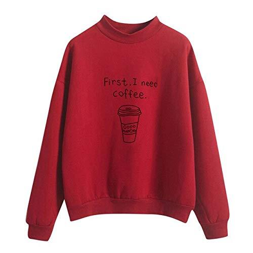 ZCMWY Frauen Oansatz Feste Sweatshirt-Mädchen-Nette Kaffeetasse-Muster-Lange Hülse Plus Samt-Sweatshirt Beiläufiges XL-Rot