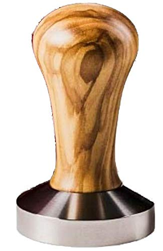 Tamper olive 54 mm de AlTaGru Coffee Tools by DekoStore - Manche en bois d'olivier - Partie inférieure en acier inoxydable - Presse-mouture