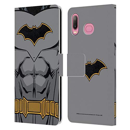 Head Case Designs Oficial Batman DC Comics Disfraz de Renacimiento Logotipos Carcasa de Cuero Tipo Libro Compatible con Samsung Galaxy A6s (2018)
