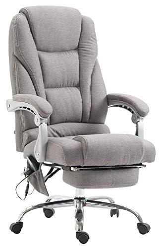CLP Chefsessel Pacific Stoff mit Massagefunktion l Höhenverstellbarer Bürostuhl mit ausziehbarer Fußablage l Max. belastbar bis 150 kg, Farbe:grau
