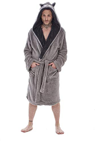 Albornoz de forro polar con capucha para hombre y niños, tallas S a XL, niños de 7 a 13 años