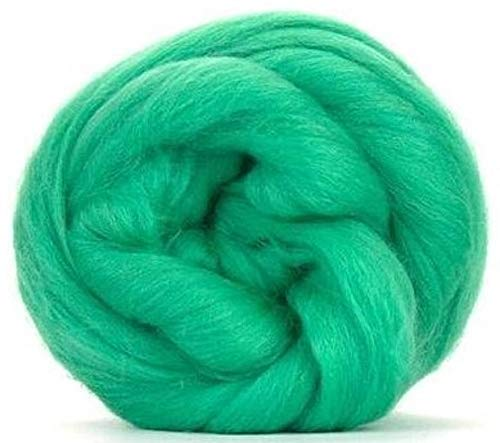 4 oz Paradise Fibers 64 Count Dyed Mint (Green) Merino Top Spinning Fiber Luxuriously Soft Wool Top Roving for Spinning with Spindle or Wheel, Felting, Blending and Weaving