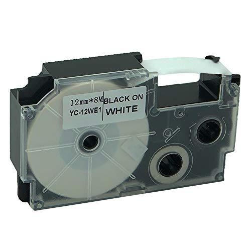 Compatible for Casio EZ-Label Printer Tape 12mm Black on White XR-12WES Label IT!