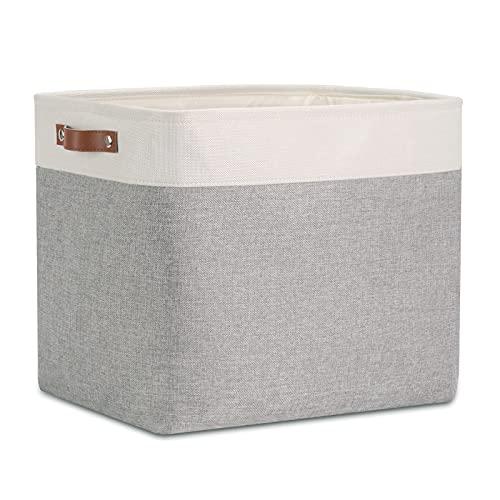 DULLEMELO - Cesta de almacenamiento plegable grande con asas de cuero duradero, organizador de tela para almacenamiento de ropa,...