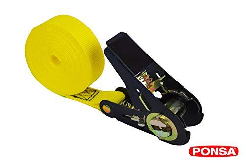 Cinta trincaje con tensor -Ratchet - Carraca - para cargas semi pesadas. Longitud 5m. Resistencia rotura real 2.000 kg. 027135025108