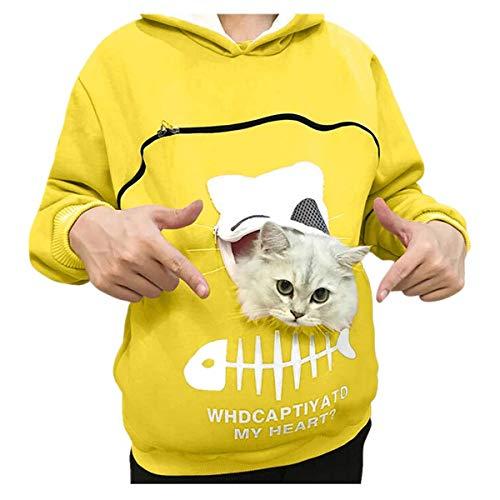 Reooly La Sudadera con Capucha Mujer con Capucha Animal Puede Llevar el Jersey Transpirable de Gato(Amarillo,Small)
