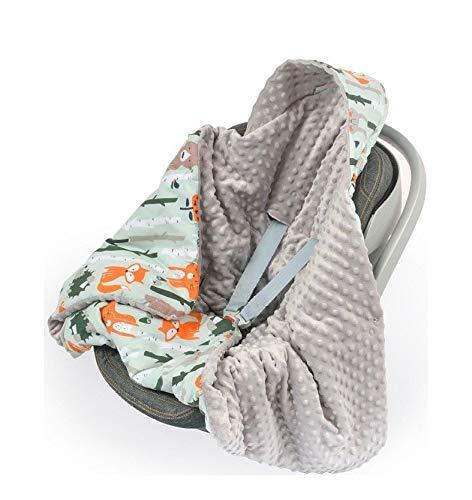 Babydecke MINKY mit Kapuze 90x90 cm Einschlagdecke Babyschale Kinderwagen Decke (Waldtiere/Grau)