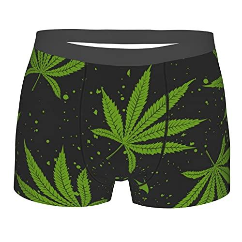Donono Calzoncillos tipo bóxer para hombre marihuana hoja verde cannabis ropa interior transpirable pantalones cortos, Negro, L