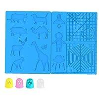 4つのフィンガープロテクターで描画ツール3Dペンマット印刷のシリコーンの基本テンプレートアニマルパターン