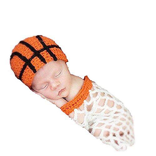 Cirkouh Newborn Baby Boy Girls Photography Props Handmade Crochet Animal Costume Set (Basketball)