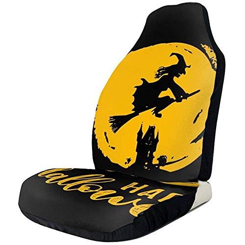Alice Eva Fahrzeugsitz-Schutz-Auto Mat Covers, Hexen-Vektor-Illustration mit glücklicher Halloween-Beschriftung für Partei-Einladungs-Karte, Plakat