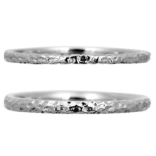 [ココカル]cococaru ペアリング 2本セット シルバー マリッジリング 結婚指輪 日本製 (レディースサイズ8号 メンズサイズ2号)