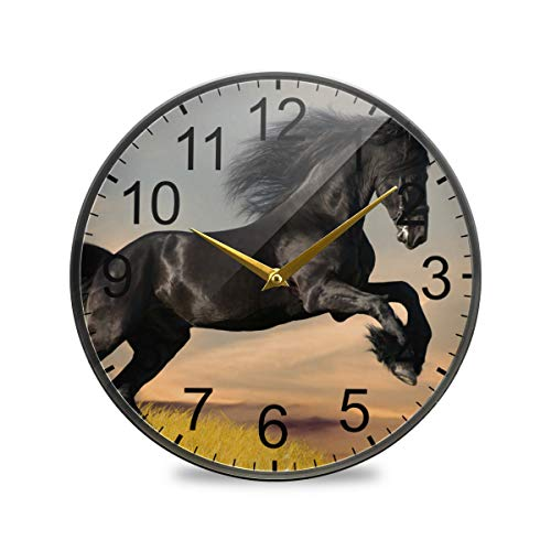 XiangHeFu Batterij Bediende Woonkamer Wandklok Bureau Klok Quartz Analoog Rustig Niet-Tik Zwart Friese Paard Gallop Badkamer