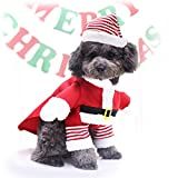 Idepet Pet Christmas Costume,Xmas Dog Cosplay Outfit Cute Santa Claus Puppy Kitty Party Clothes Cat New Year Funny Dress Up Pet Parties Apparel Suits (S)