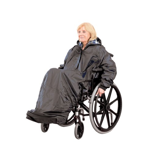 Homecraft Wheelchair Mac with Sleeves, Waterproof Complete Protection, Elasticated for Snug Fit, Prevents Fabric From Getting Wet, Knitted Cuffs, Lined, Standard (Eligible for VAT relief in the UK)