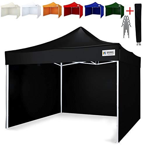 Party zelt Exclusive BRIMO ® Komplett 3 volle Wände + 8 Verankerungsdübel und Schutzhülse Gratis! (3x3m, Schwarz)