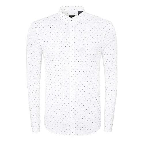 Armani Exchange Herren Men Hemd Shirt Langarm Slim Fit Weiß AX Muster (S)