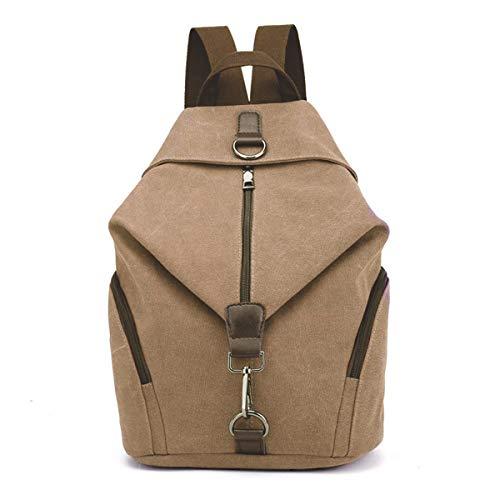 JOSEKO Frauen Leinwand Rucksack, Canvas Tasche Rucksäcke Damen Umhängentasche Große Kapazität Reisetasche Vintage Schultasche für Reise Outdoor Schule (Khaki)
