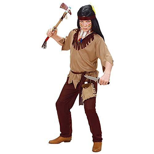 Widmann 02616 - Costume d?Indien pour Enfant, Tunique, Pantalon, Ceinture et Bandeau, Taille 128(8-9 ans), Marron