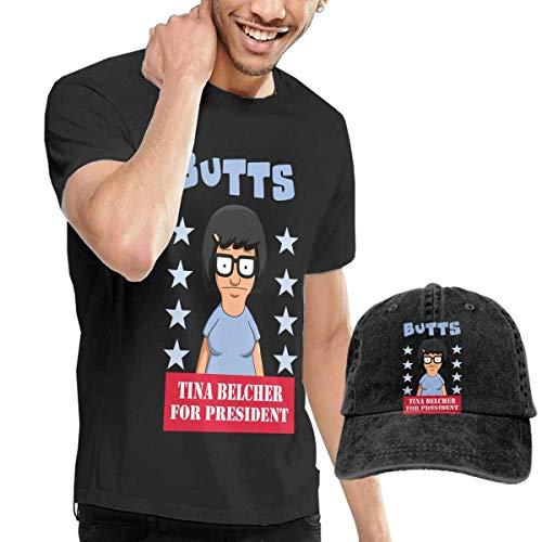 LYZBB Herren Kurzarmshirt Bob Tina Burgers Adult Round Neck Short Sleeve T Shirts Black and Adjustable Cowboy Hat