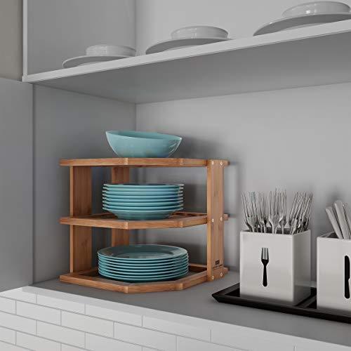 Lavish Home 3-Tier Bamboo Corner Shelf for Kitchen or Bathroom Cabinet Countertop, Cupboard Storage and Organizer, Natural Wood Space Saving Rack